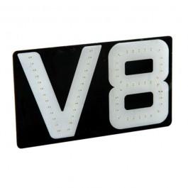 Αυτοκόλλητο Σήμα V8, 24V, 17.5x10cm Φωτιζόμενο Αυτοκόλλητα Φορτηγών
